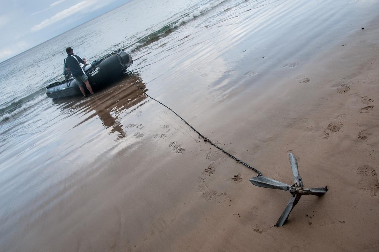 Anchor on sand in Principe, Sao Tome and Principe