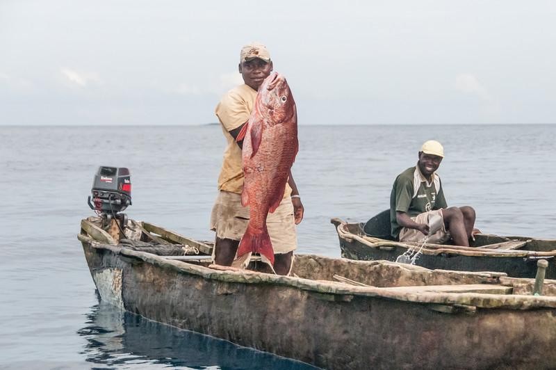 Fishermen on boat in Principe, Sao Tome and Principe