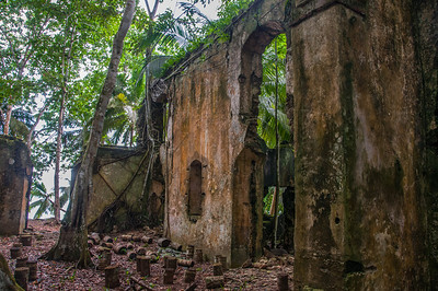 Ruins near the beach in Principe, Sao Tome and Principe