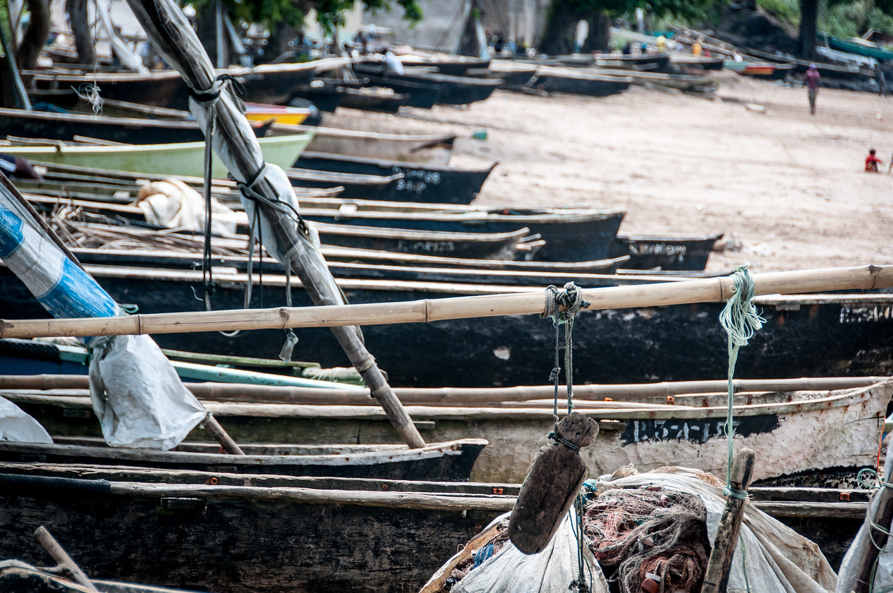 Small fishing crafts on the shore of Sao Tome, Sao Tome and Principe
