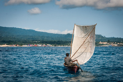 Man on a fishing boat in Sao Tome, Sao Tome and Principe