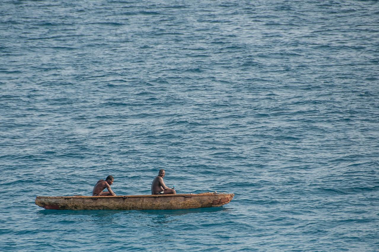 Men on boat at Sao Tome, Sao Tome and Principe