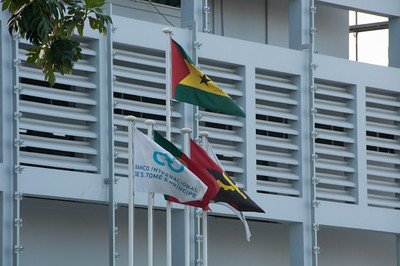 Flags waving in Sao Tome, Sao Tome and Principe