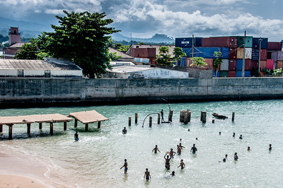 Kids swimming in Sao Tome, Sao Tome and Principe