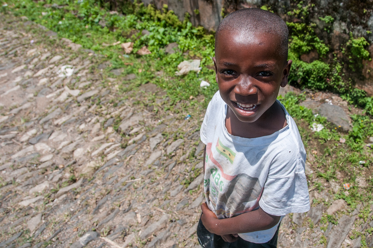 Child smiling in Sao Tome, Sao Tome and Principe