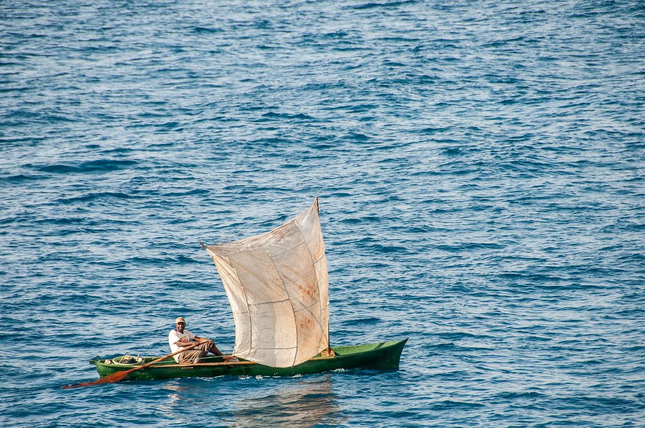 Man on a boat in Sao Tome, Sao Tome and Principe