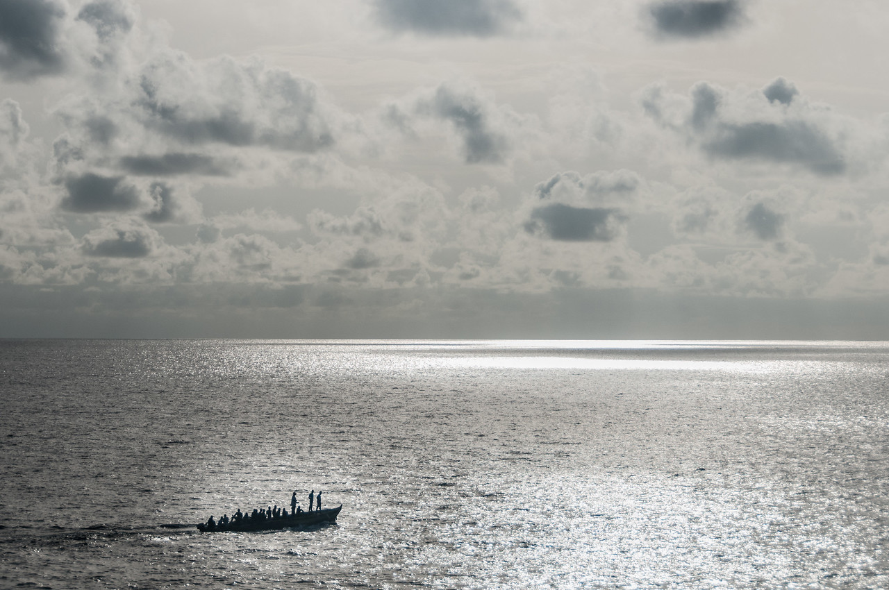 Men in a fishing boat at Sao Tome, Sao Tome and Principe