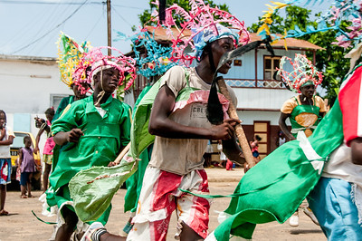 Street dancers in Sao Tome, Sao Tome and Principe