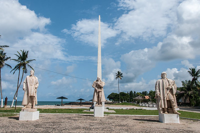 Portuguese statues and obelisk in front of fort Saint Sebastian in Sao Tome