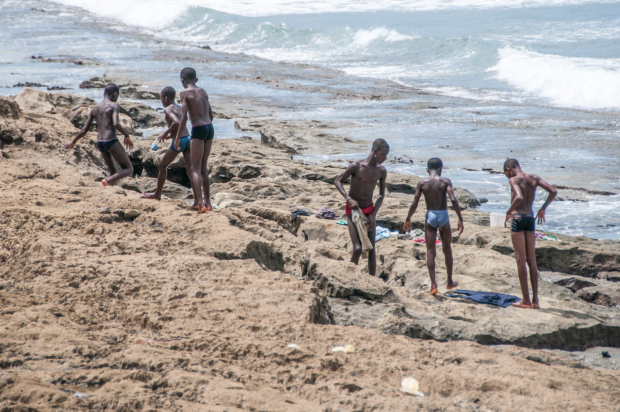Kids on the shore at Sao Tome, Sao Tome and Principe