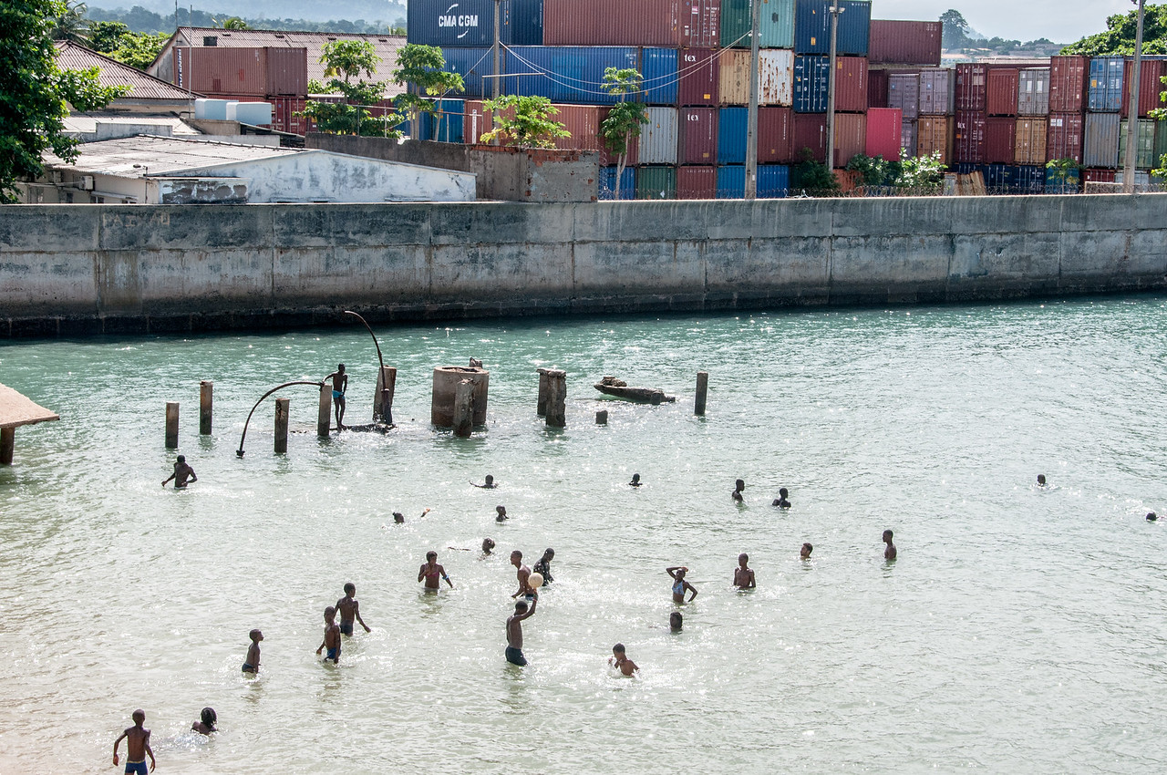Kids swimming in Sao Tome, Sao Tome and Principe