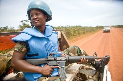 UNMIL Photo/Christopher Herwig, April 17, 2009, Buchanan, Grand Bassa, Liberia -Private Linda Mensah from Ghana on patrol with UN peacekeeping troops.