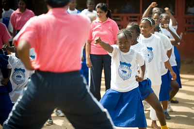 UNMIL Photo/Christopher Herwig,  November 18, 2008, Monrovia, Liberia - Members of the all women UN Formed Police Unit from Indian working with school children especially young girls to teach them excersice, self defense and Indian dance in Monroiva, Liberia.