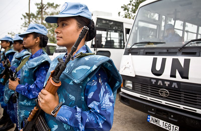 MONROVIA - LIBERIA , FEBRUARY 8 2007 :  All female Peacekeeping police force from India armed and ready for action on standby at the Headquarters of the Liberian National Police.  (Photos by : Christopher Herwig )