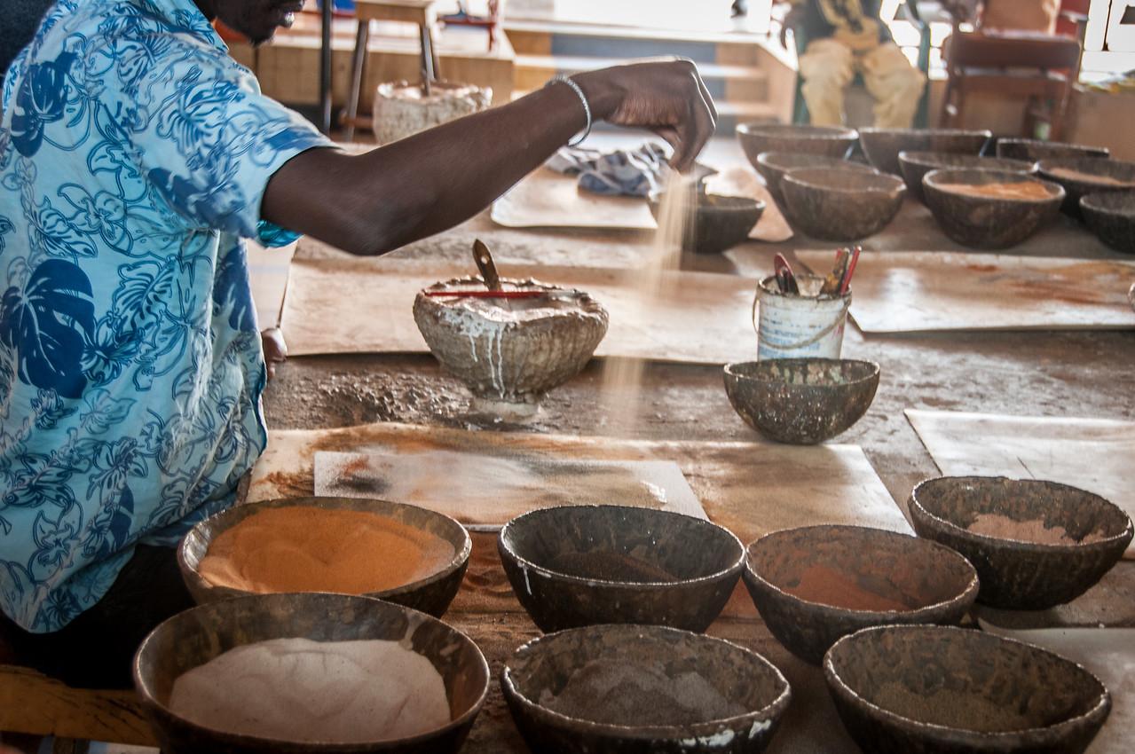 Sand painting in Dakar, Senegal