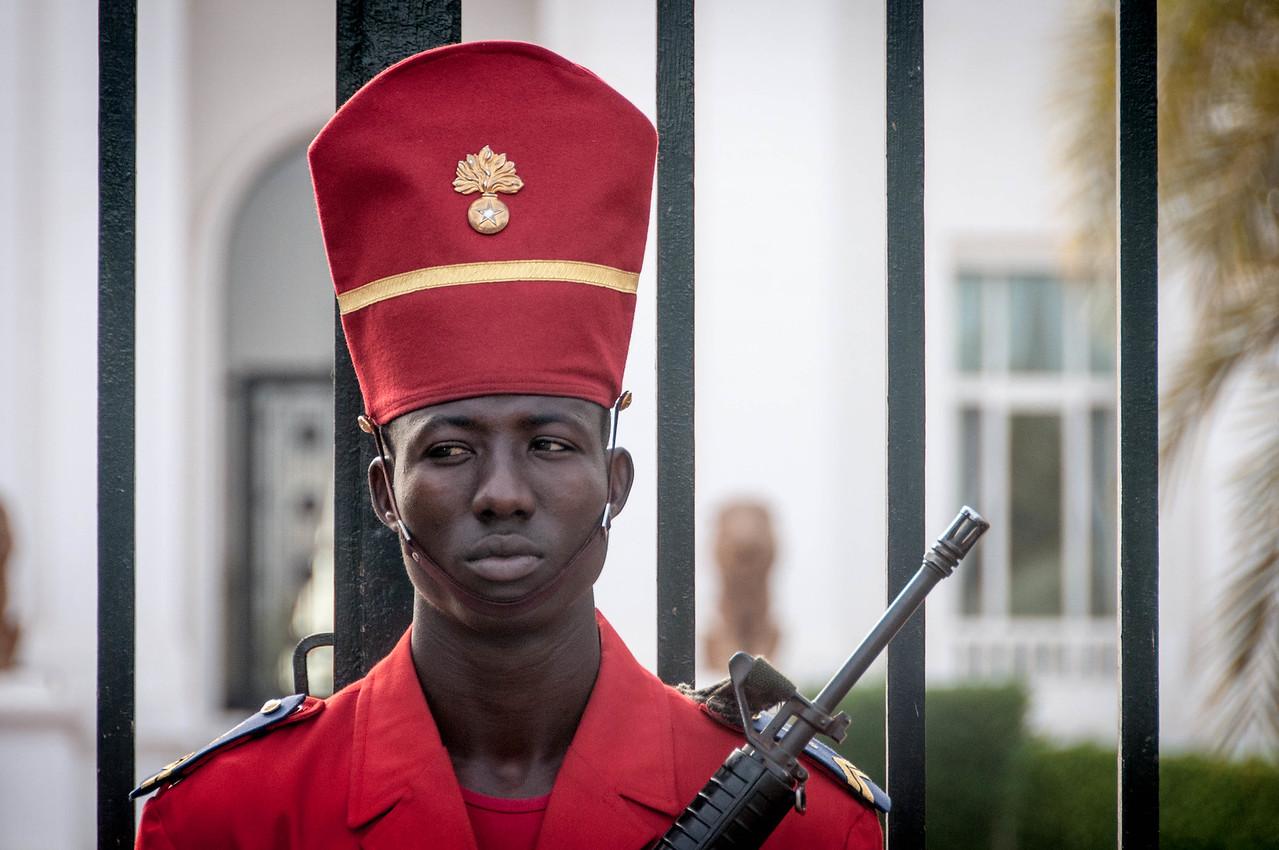 Guard at the Presidential Palace in Dakar, Senegal