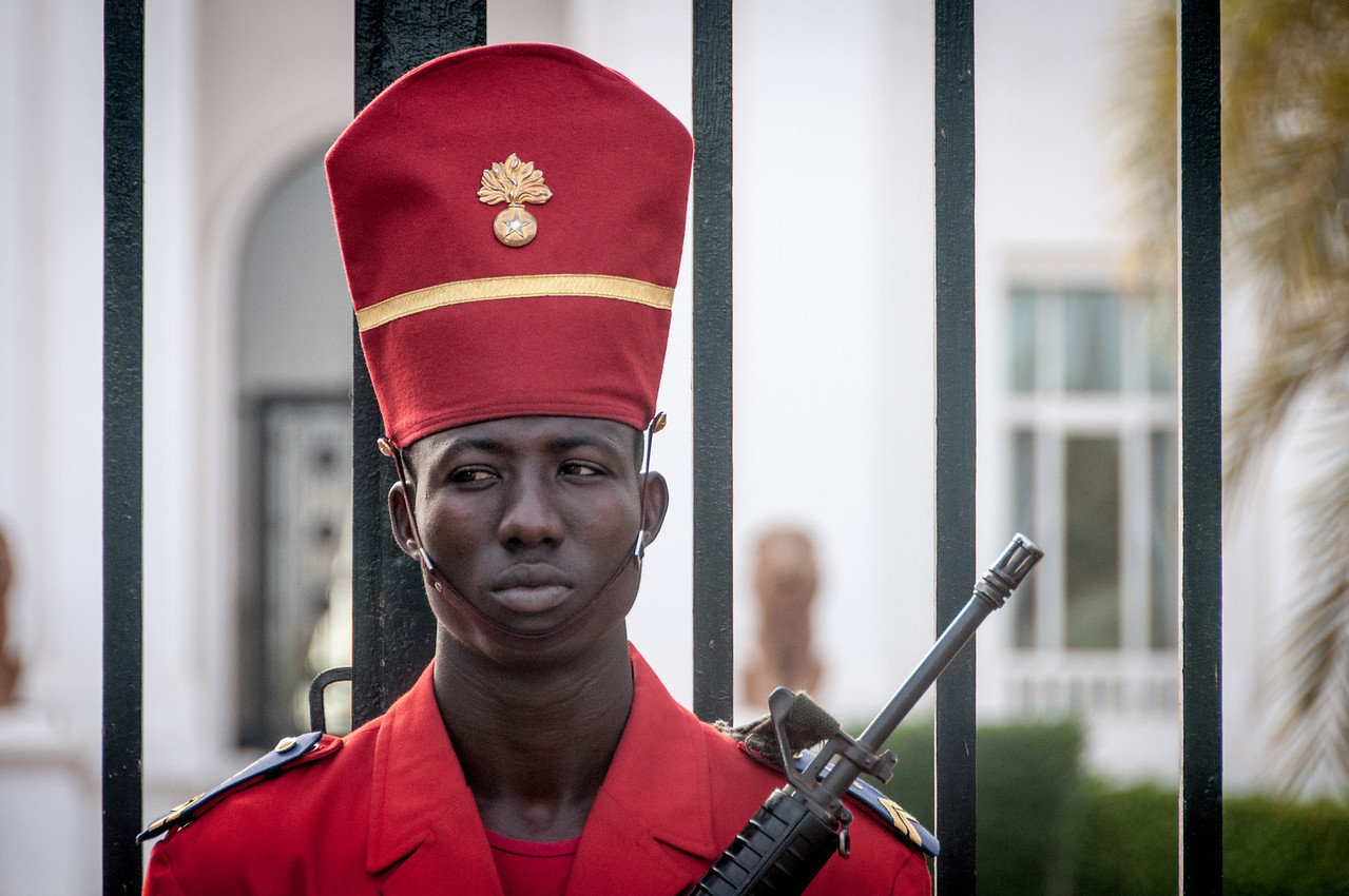 Guard outside the Presidential Palace in Dakar, Senegal