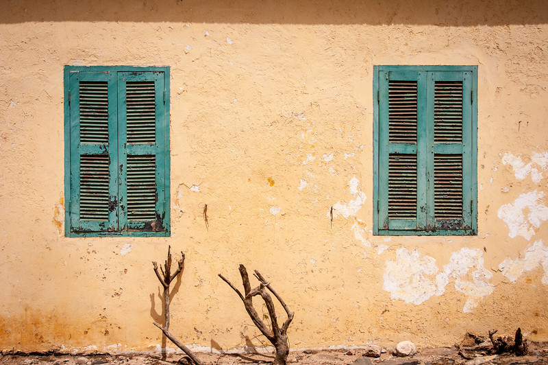 Windows of a building in Goree Island, Dakar, Senegal