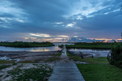 """View from """"Les Paletuviers"""" towards the magrove delta at 7:20 PM."""