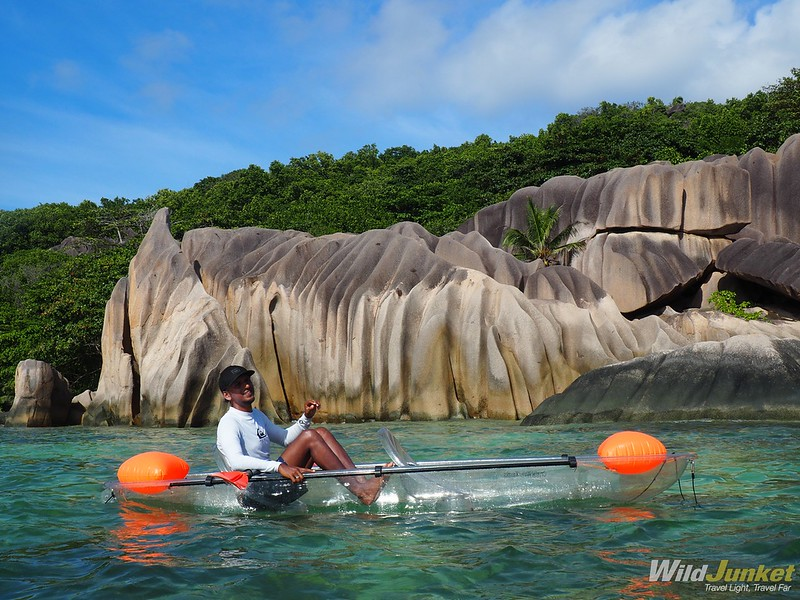 kayaking at anse source d'argent - seychelles travel blog