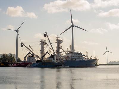 Wind turbines and tuna boat