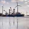 Wind turbines and tuna boat