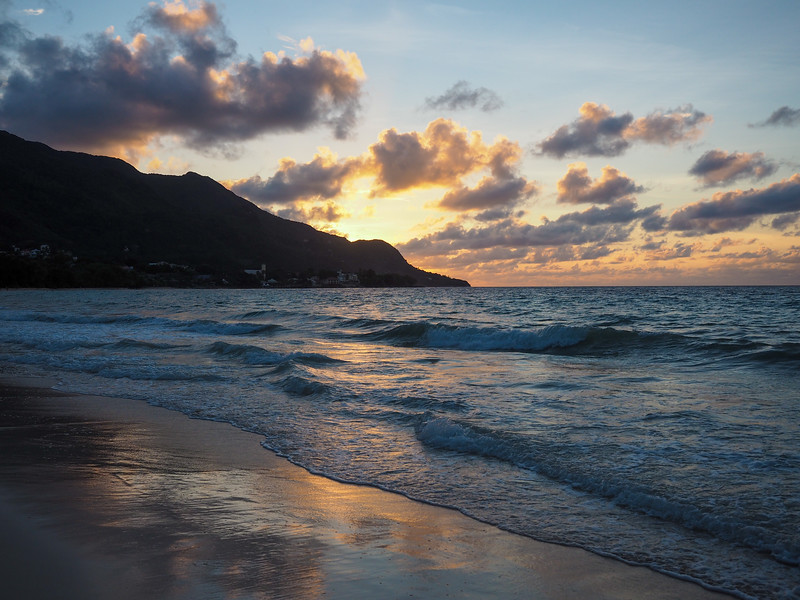 Beau Vallon Beach at sunset