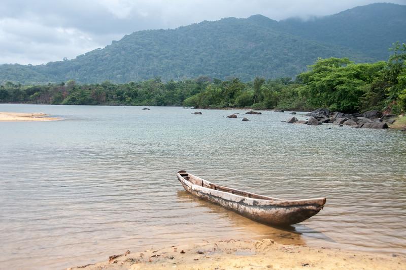 Small boat on shore in Freetown, Sierra Leone