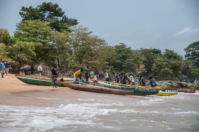 Boats on the shore at Freetown, Sierra Leone