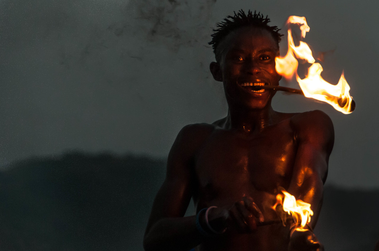 Fire Dancer in the National Dance Troupe of Sierra Leone in Freetown