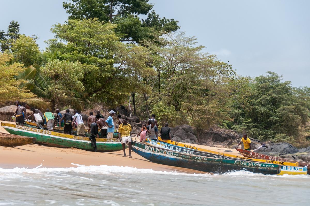 Fishermen On Shore on John Obey Beach, Sierra Leone