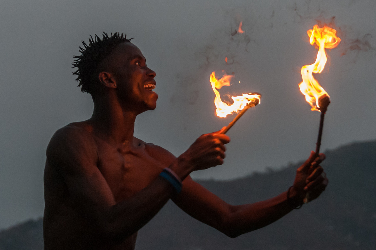 Fire dancer from Sierra Leone National Dance Troupe on the ship