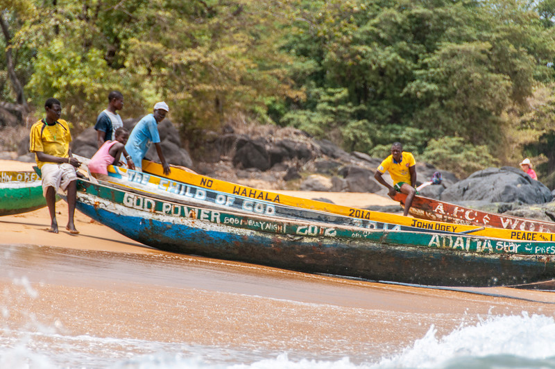 Boats on the shore in Freetown, Sierra Leone