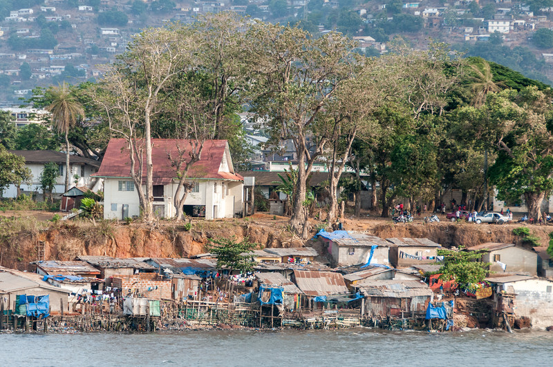 Shanties near the beach in Freetown, Sierra Leone