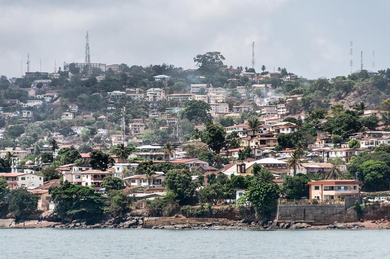 Houses and buildings in Freetown, Sierra Leone