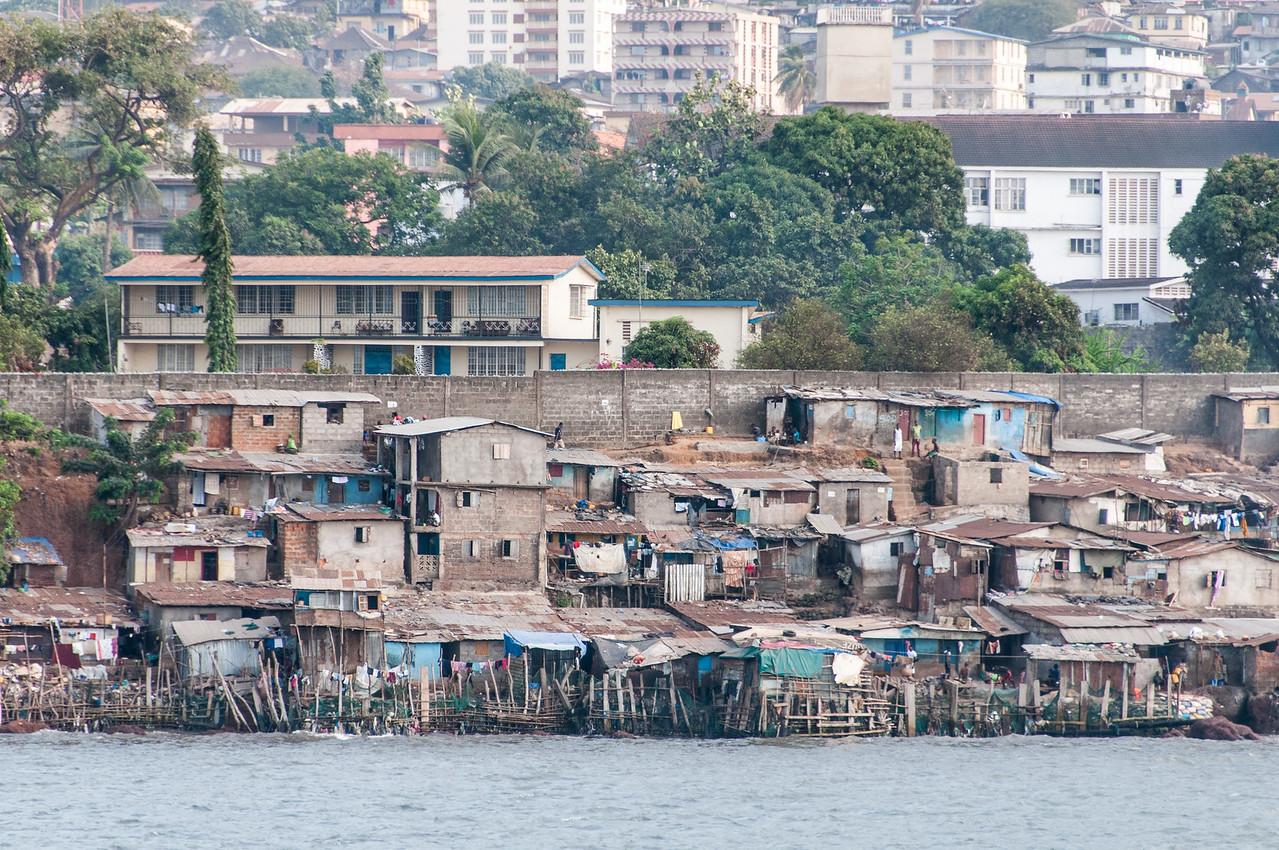 Shanties near the beach in Freetown, Sierra Leone