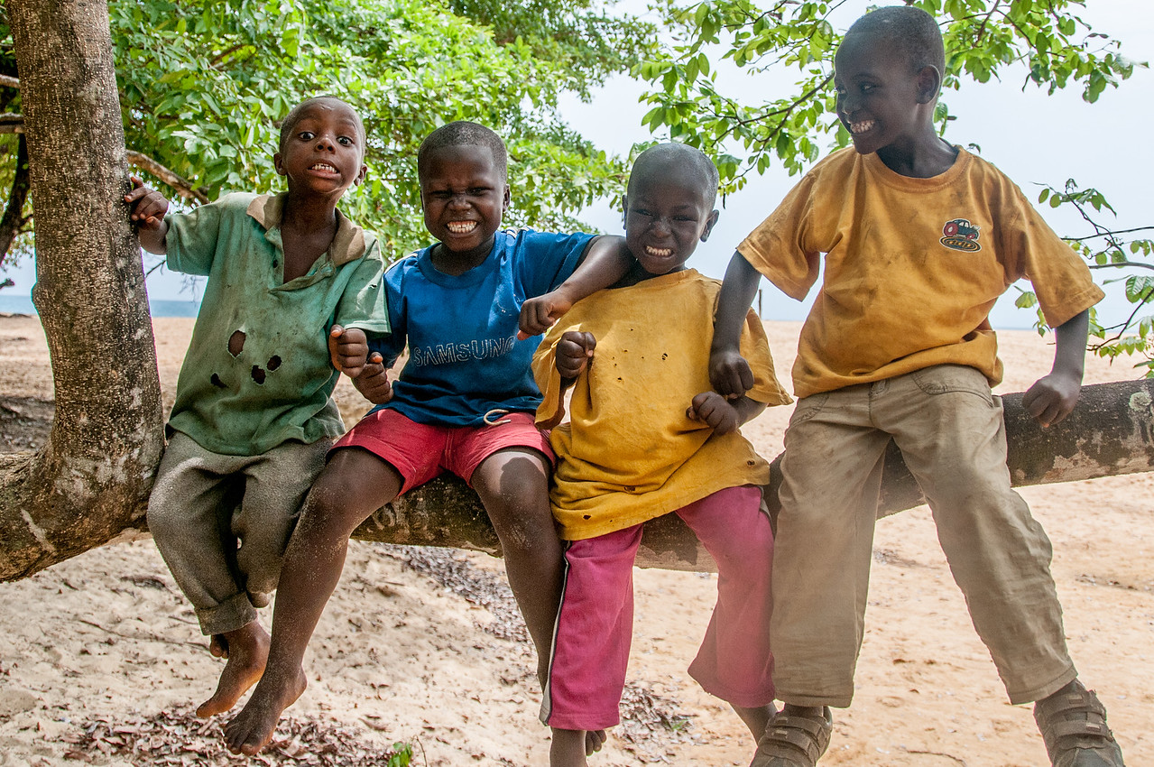 Local kids hanging out in Freetown, Sierra Leone