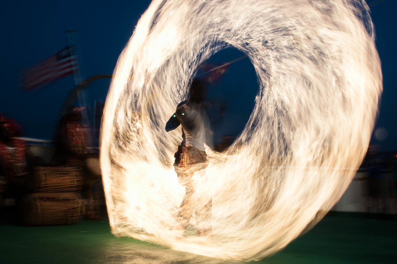 Fire dancer of the National Dance Troupe of Sierra Leone in Freetown