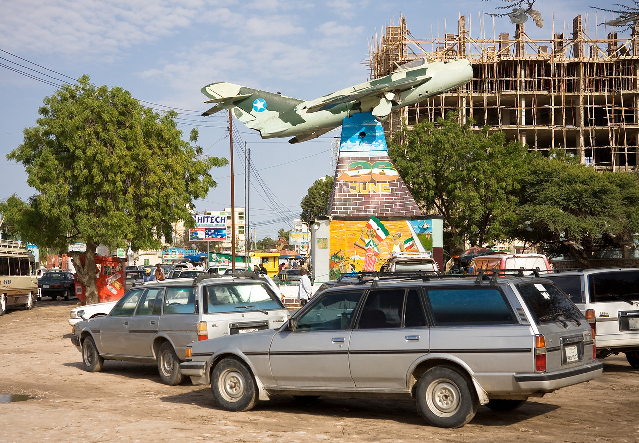 The MiG fighter jet war memorial marks the center of the city.<br /> <br /> Location: Hargeisa, Somaliland<br /> <br /> Lens used: 24-105mm f4.0 IS
