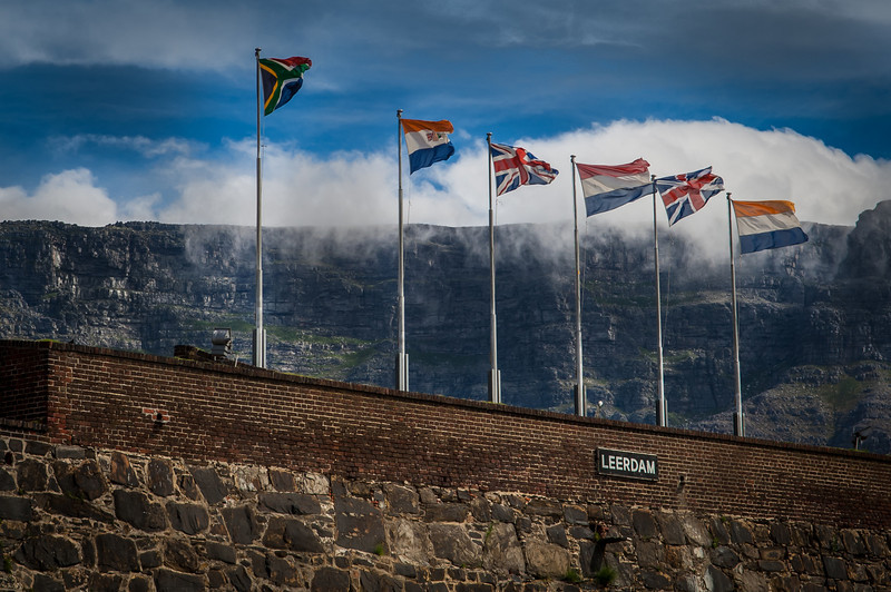 Sourth Africa, Africans, British, French, British, Dutch - Flags,  Capetown