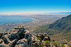 View of Cape Town, South Africa from the top of Table Mountain.
