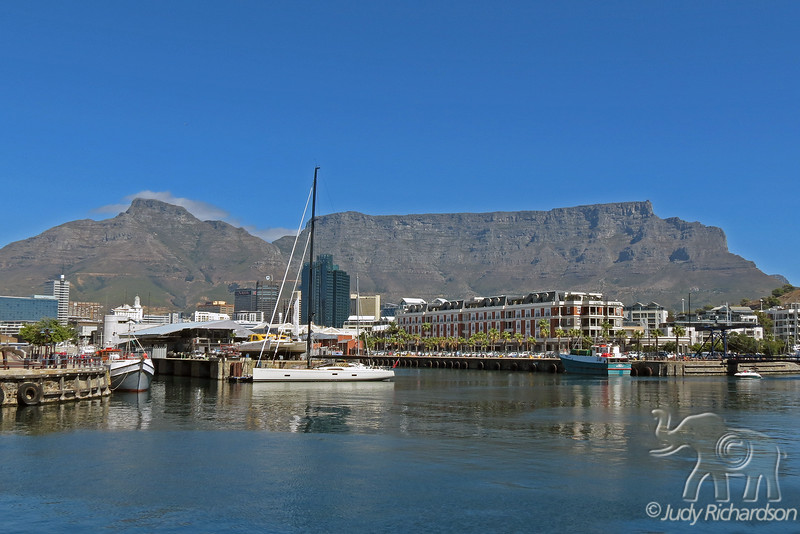 Table Mountain from Albert & Victoria Waterfront in Cape Town, South Africa.