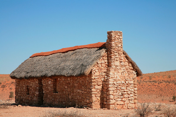 Along the South African, Namibia Border, these guard huts originally were used to protect the border. This one was rebuilt in 2007 in the Kgalagadi (Kalahari) Transfrontier Park.