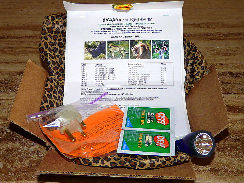 a box filled with safari instructions and items