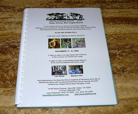 Our South Africa safari itinerary fills a whole book!