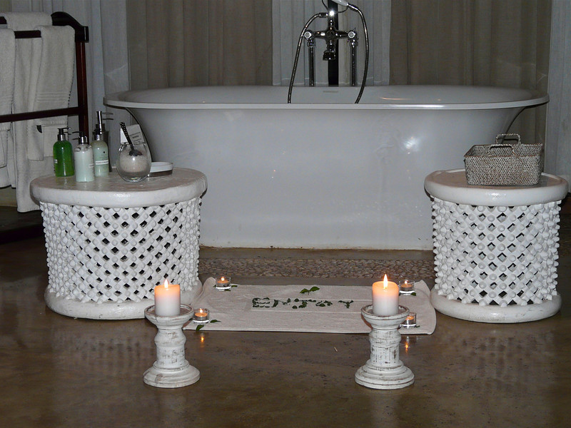 Romantic bath at Madikwe Hills Private Game Lodge in South Africa