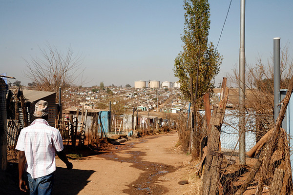 Entering Soweto's shantytown
