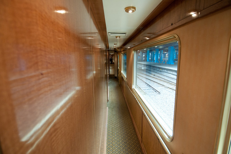 Narrow hallway inside the Blue Train in South Africa