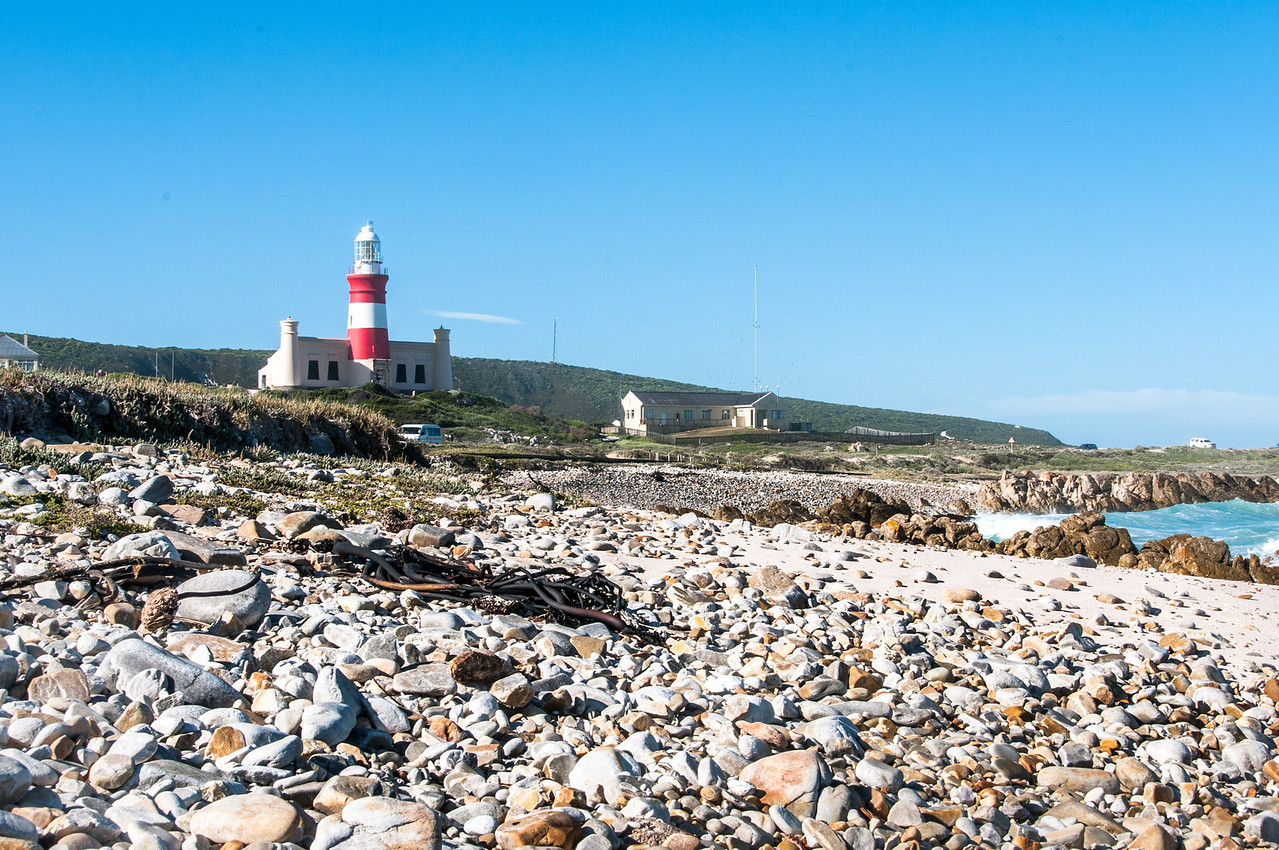 Lighthouse as seen from the beach in Cape Agulhas