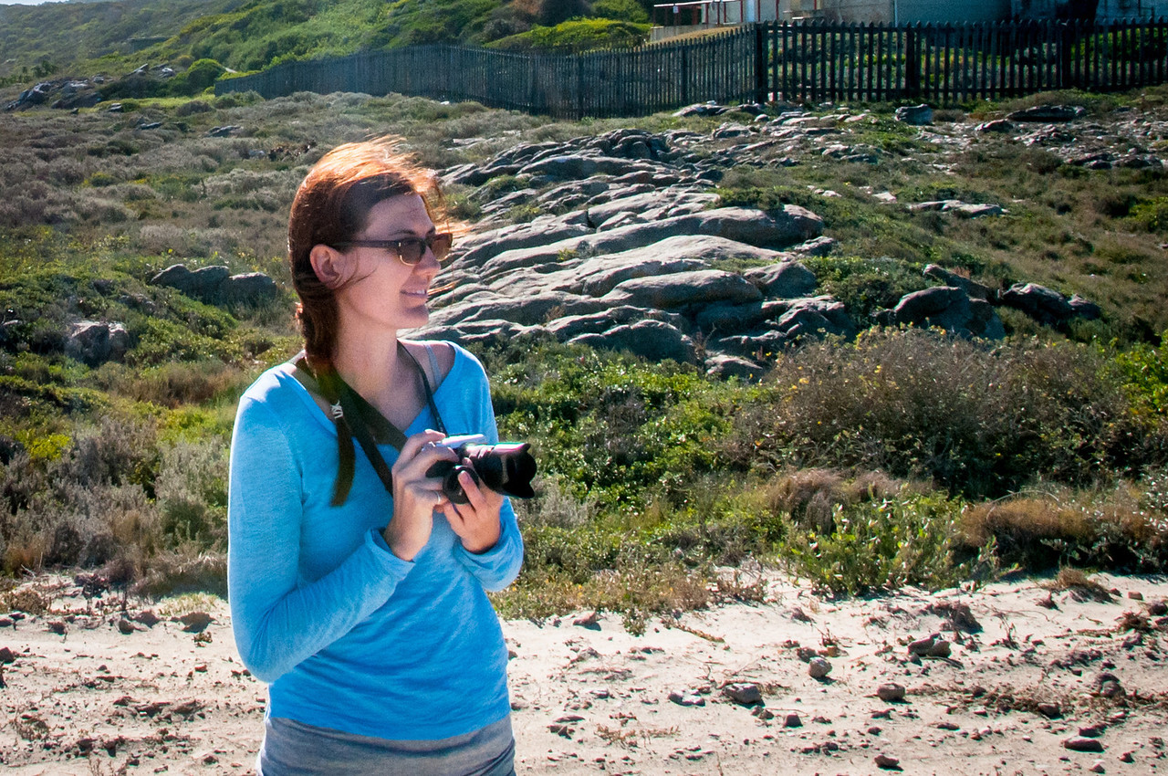 Photographer/tourist in Cape Agulhas, South Africa